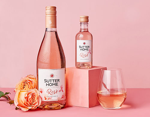 Limited-edition Sutter Home Rosé bottles with pink ribbons